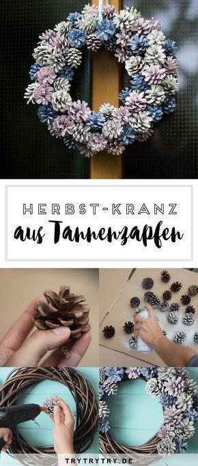 Herbstlicher Tannenzapfen-Kranz / Kiefernzapfen-Kranz #adventkransen