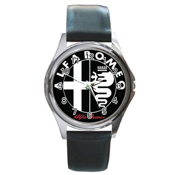 New Leather band Alfa Romeo Logo Round Metal Watch by isaaturbrian