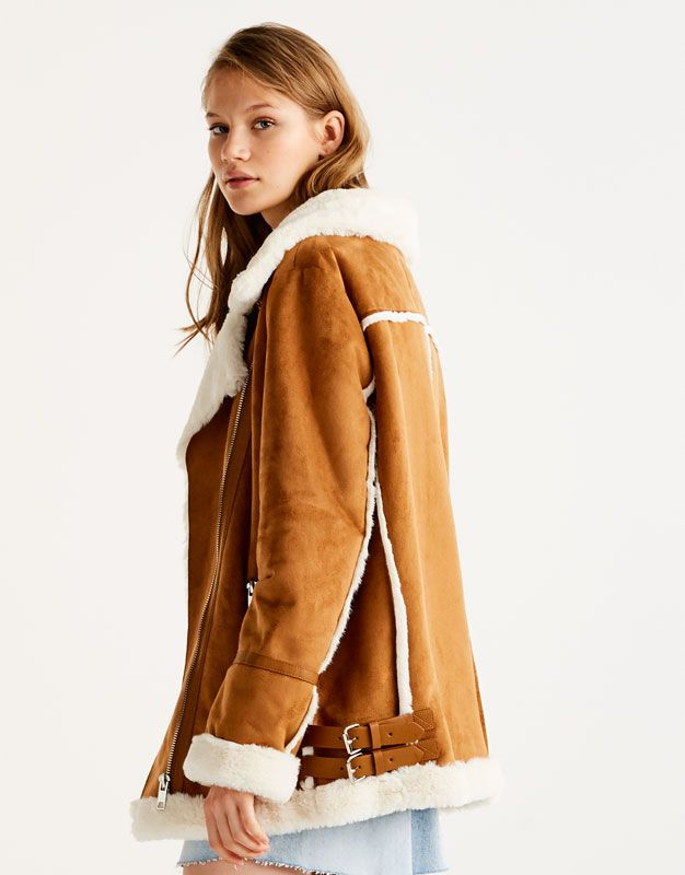fashion style reliable reputation 100% genuine Faux suede biker jacket with faux fur interior - Coats and ...