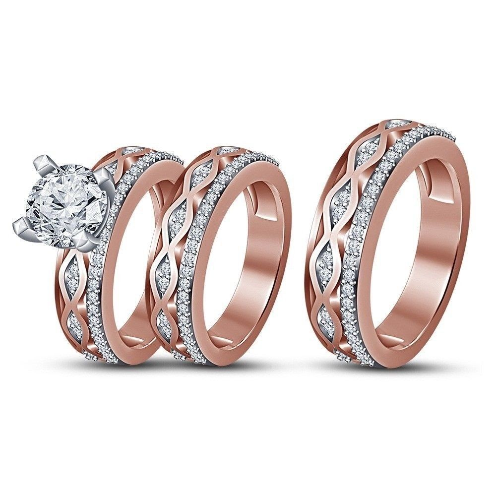 14k rose gold over his hers diamond engagement bridal