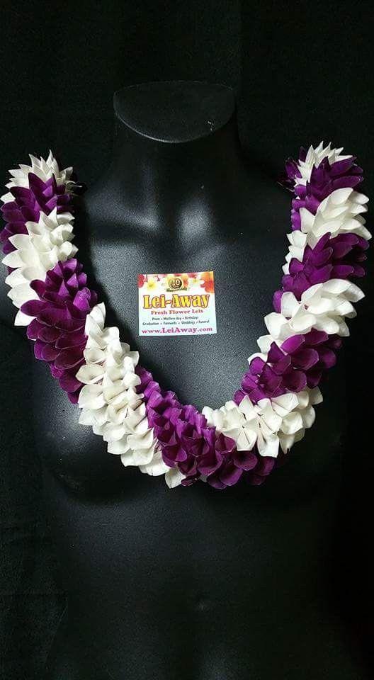 Hawaiian Spiral Orchid Lei Ribbon Lei Petal Floral Design Graduation Leis