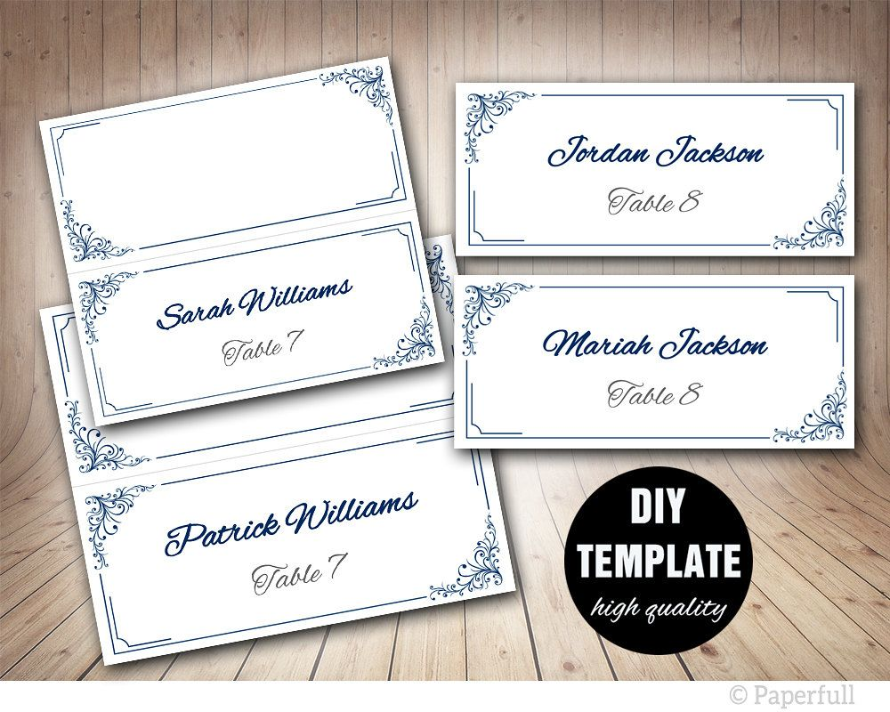 Elegant Wedding Placecard Template Foldover, Blue Place card ...