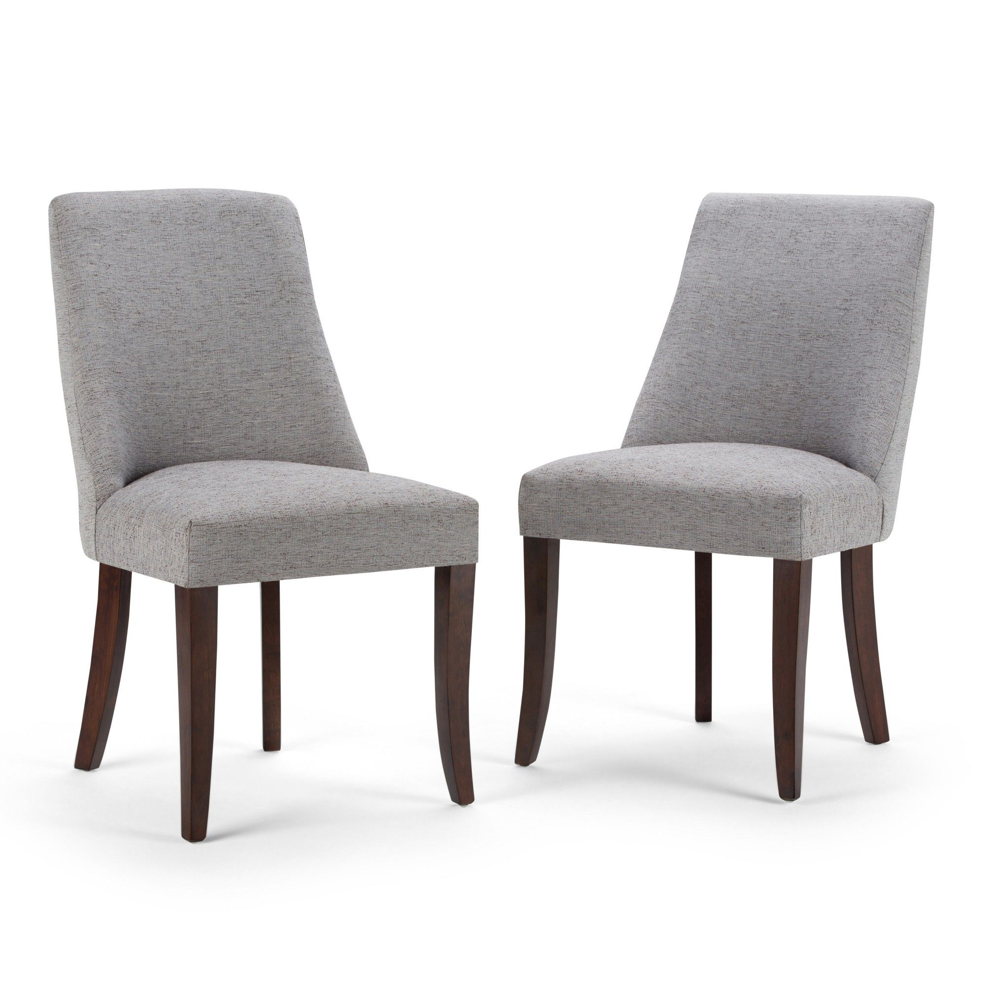 Haley Deluxe Dining Chair Set Of 2 Gray Linen Look Fabric