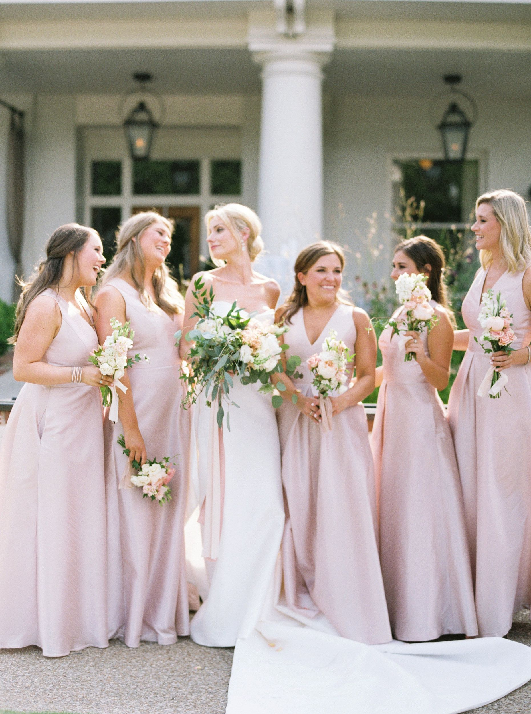 a28337d9a The Dessy Group Alfred Sung bridesmaid's dresses in Pearl Pink   On ...