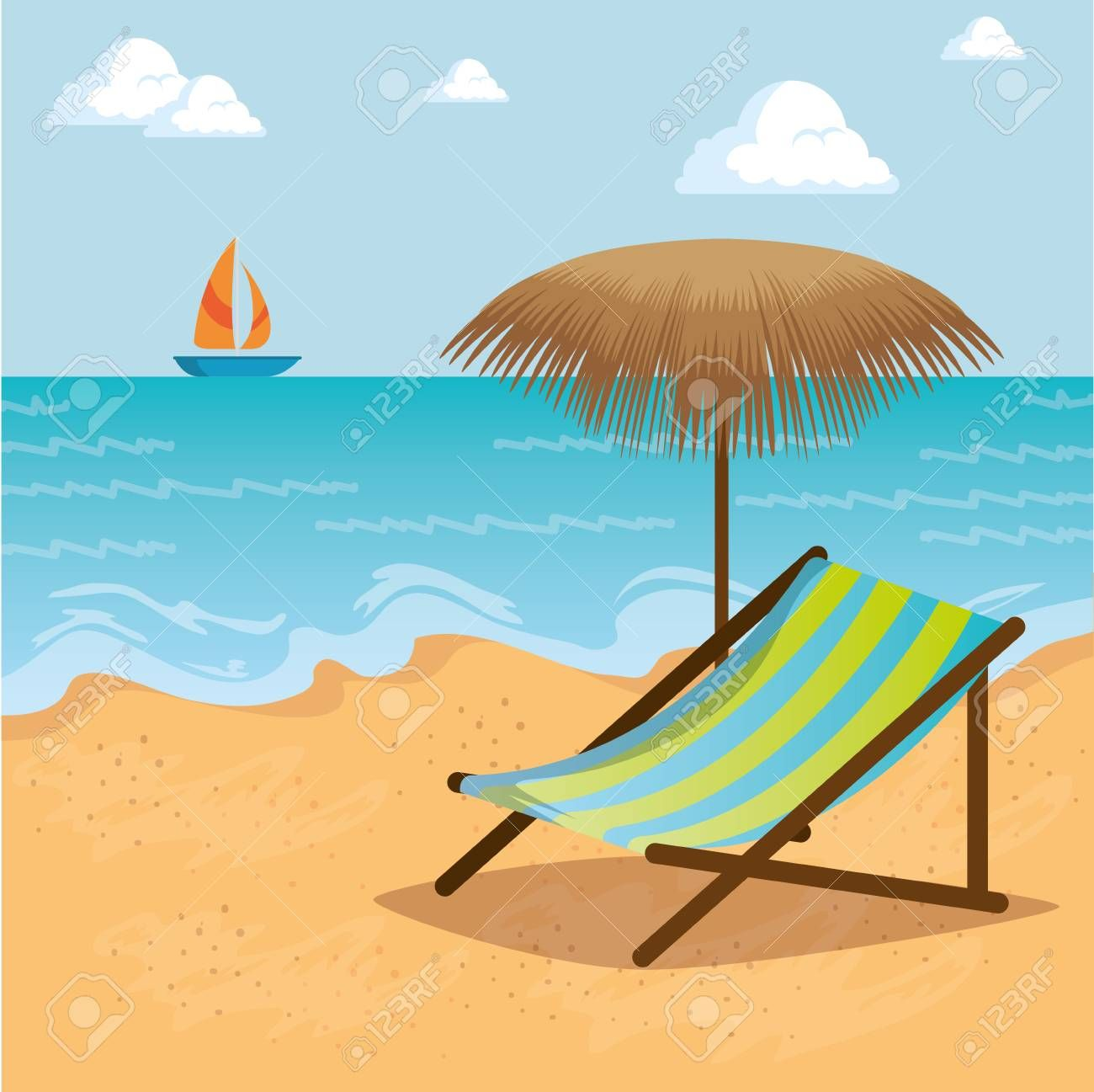 Wooden Beach Chair On A Beach Landscape Summer Holiday Vacation Vector Illustration Graphic Design Ad Lan In 2020 Wooden Beach Chairs Beach Landscape Beach Chairs