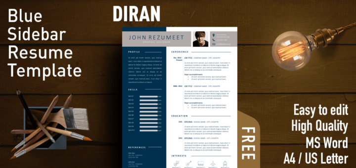 Diran Free Blue Banner Resume Template Rezumeet Com Resume Template Microsoft Word Resume Template Teacher Resume Template