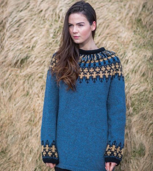 Vættir Women Wool Sweater Blue - knitting kit - Wool Knitting Kit ...