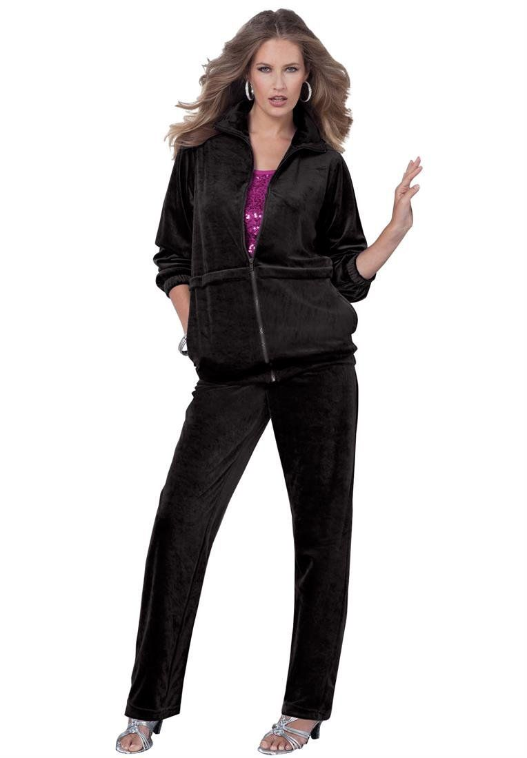 Roamans Women S Plus Size Petite Straight Leg Velour Jogging Suit Jogging Suit Big And Tall Outfits Clothes