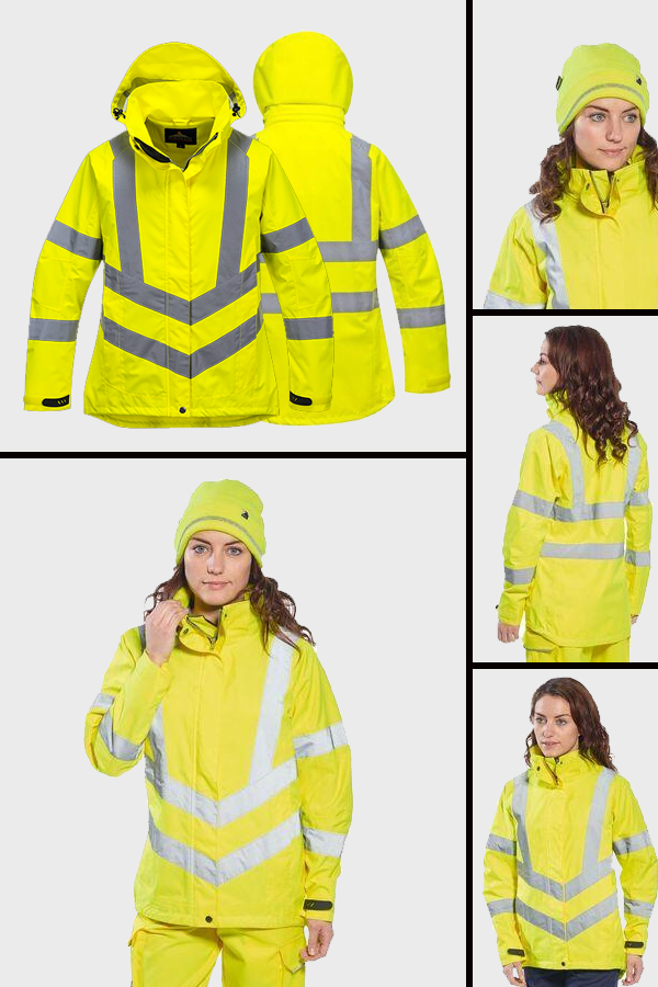 Portwest Ladies Fit Hi Viz Visibility Waterproof Breathable Safety Work Jacket