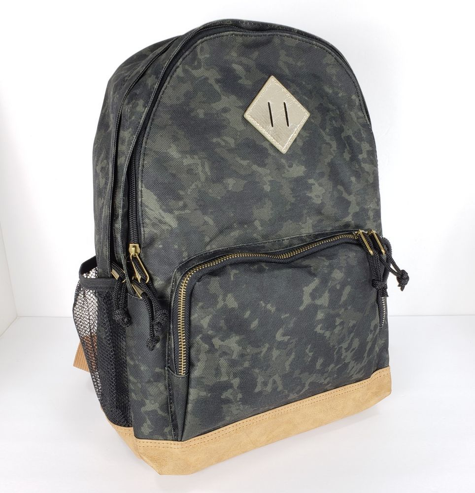 Mossimo Green Camo Backpack Book Bag Laptop School Camouflage Womens Brown Gold Mossimosupplyco