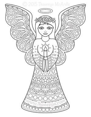 Christmas Coloring Book Angel By Thaneeya McArdle