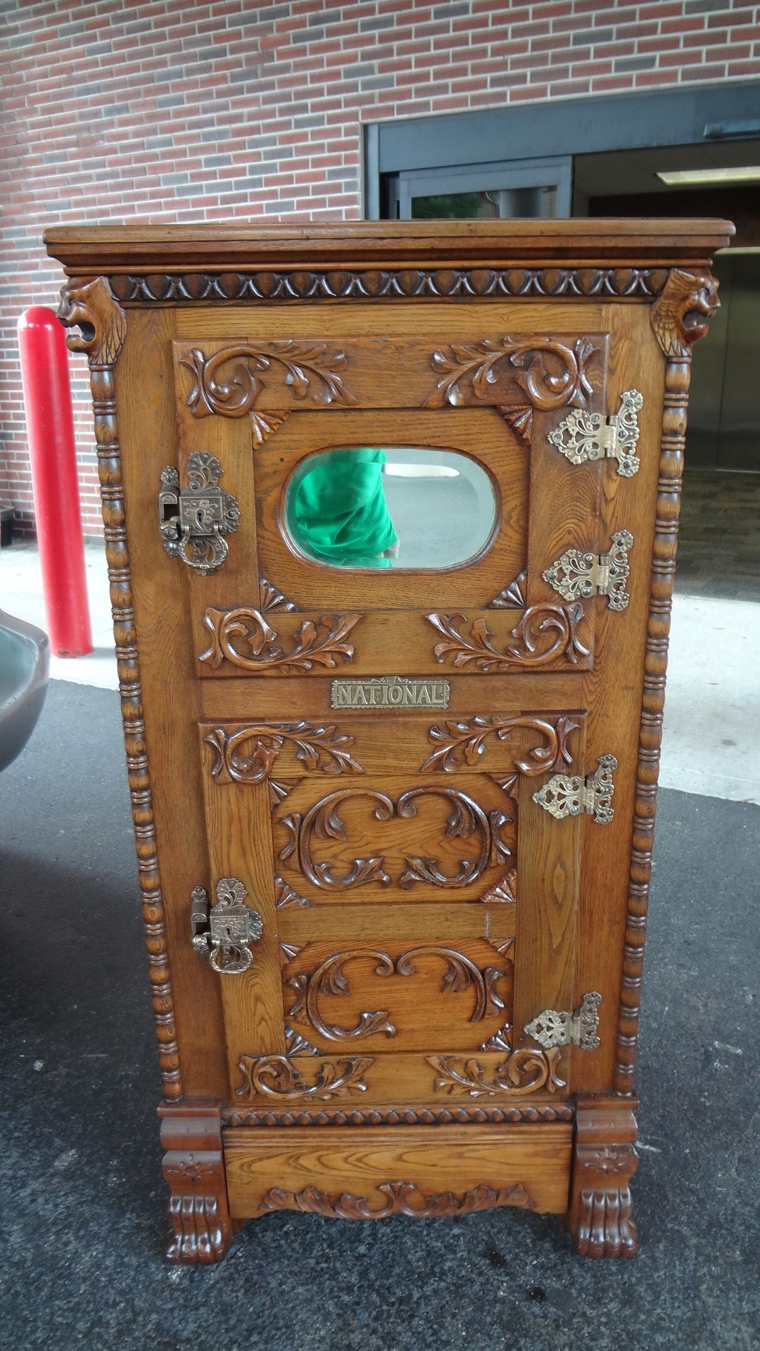 Antique Oak Lion Head Ice Box In 2019 Advertising