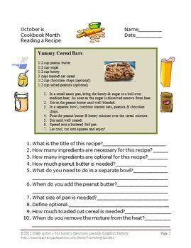 Reading A Recipe Worksheet : reading, recipe, worksheet, Skills, Cooking, Reading, Recipe, Measurement, Special, Education, Lessons,, Teaching, Skills,