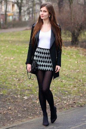 leather jacket, black stockings, mini skirt, women's clothing, women's clothing ... 2