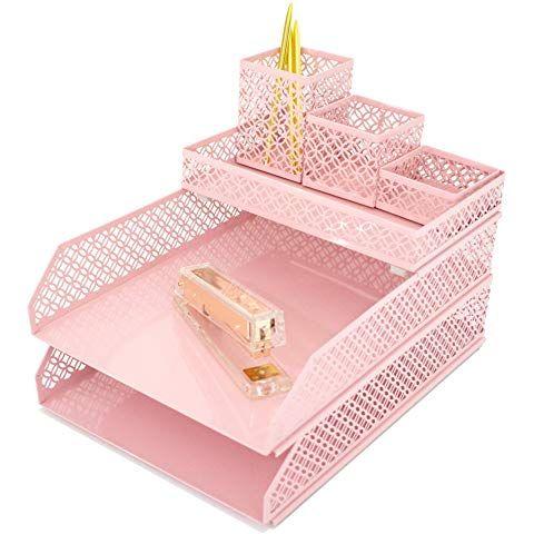 Pin On Office Decor Organization, Pink School Desk Organizer