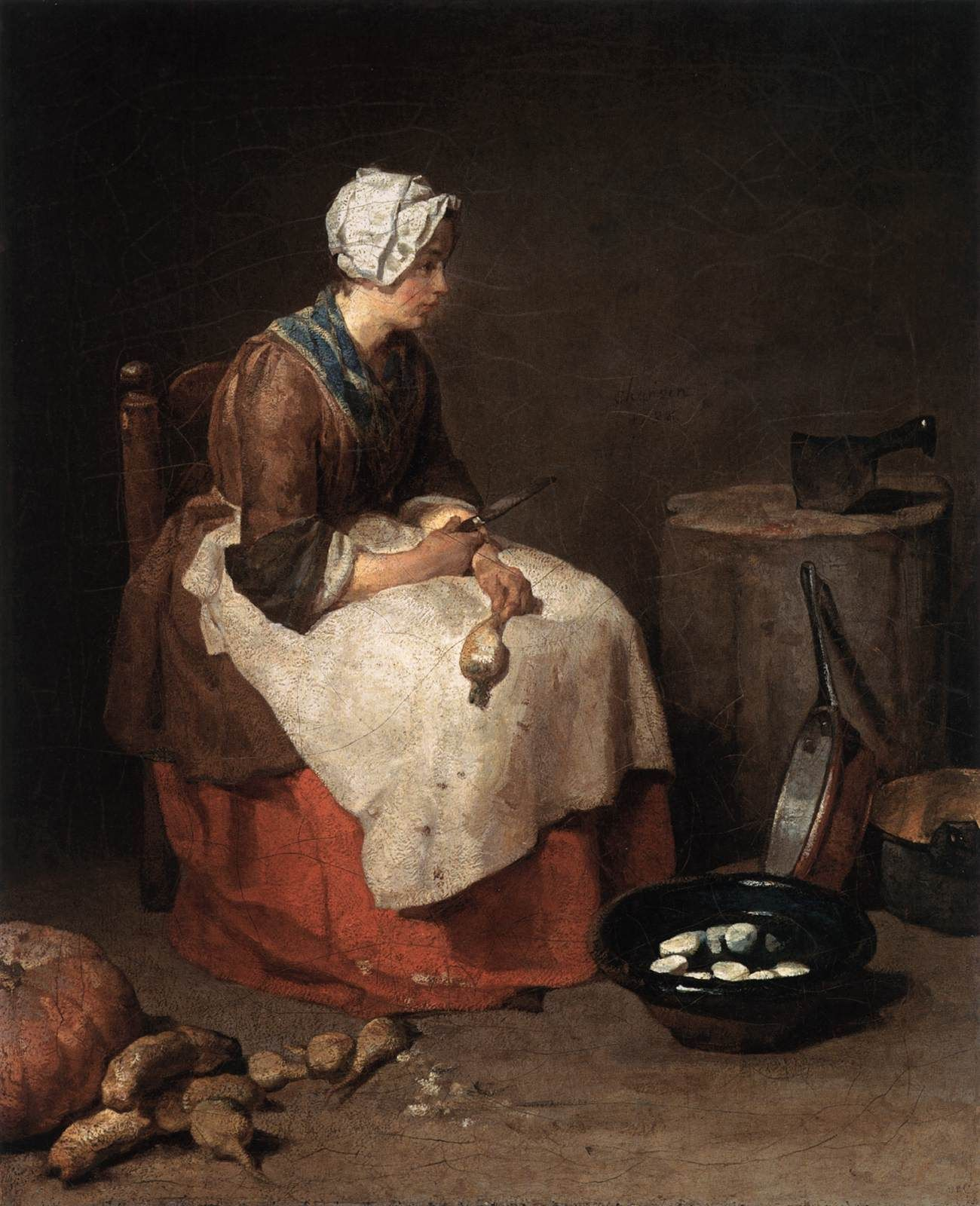 Chardin Jean Baptiste Simeon The Kitchen Maid 1738 Les Arts