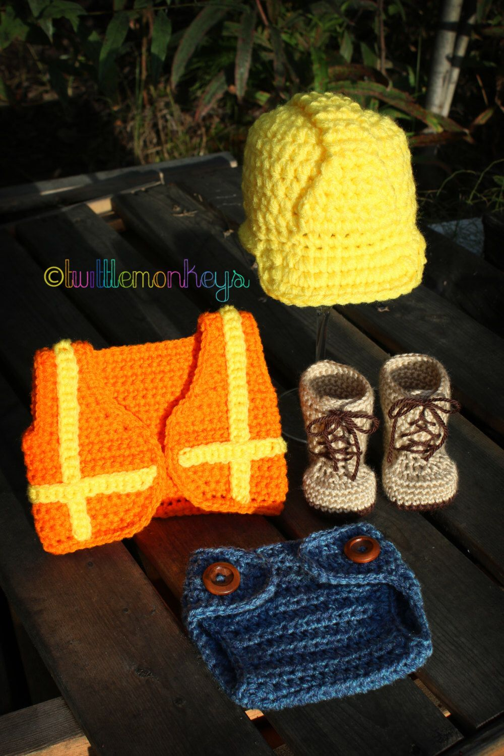 Crochet Outfits · Little Builder 4 Piece Newborn Set - Includes Hard Hat 1afdfbb70533