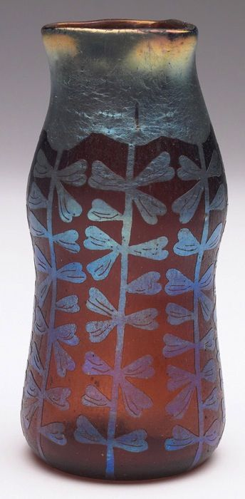 """Loetz Etched vase, gourd shape with a triangular top, amber glass with an etched organic design in platinum iridescence, unsigned, incised #292, 2.5""""w x 5""""h  