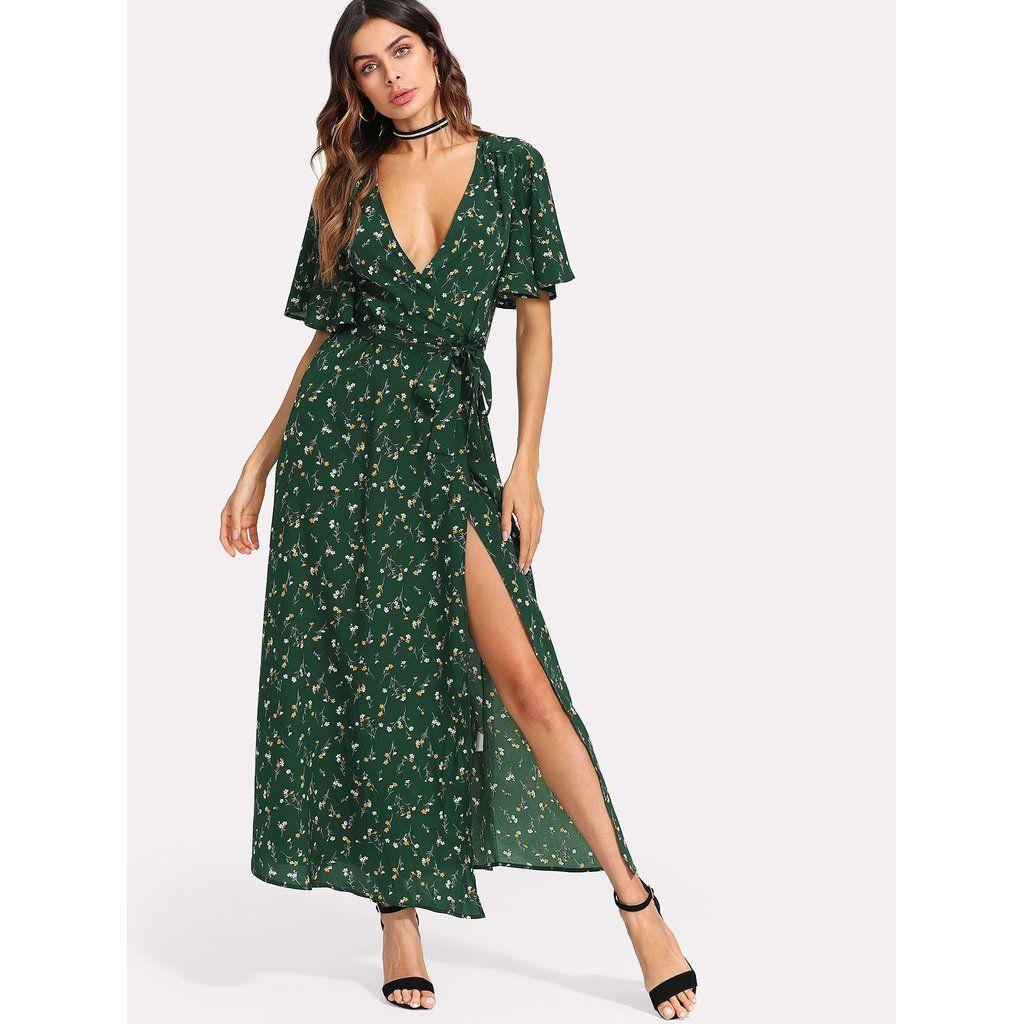 Flutter Sleeve Surplice Wrap Dress Fashion Women Men Casual Classy Trends Summer Autumn Winter Spring Floral Wrap Maxi Dress Wrap Dress Short Sleeve Dresses [ 1024 x 1024 Pixel ]