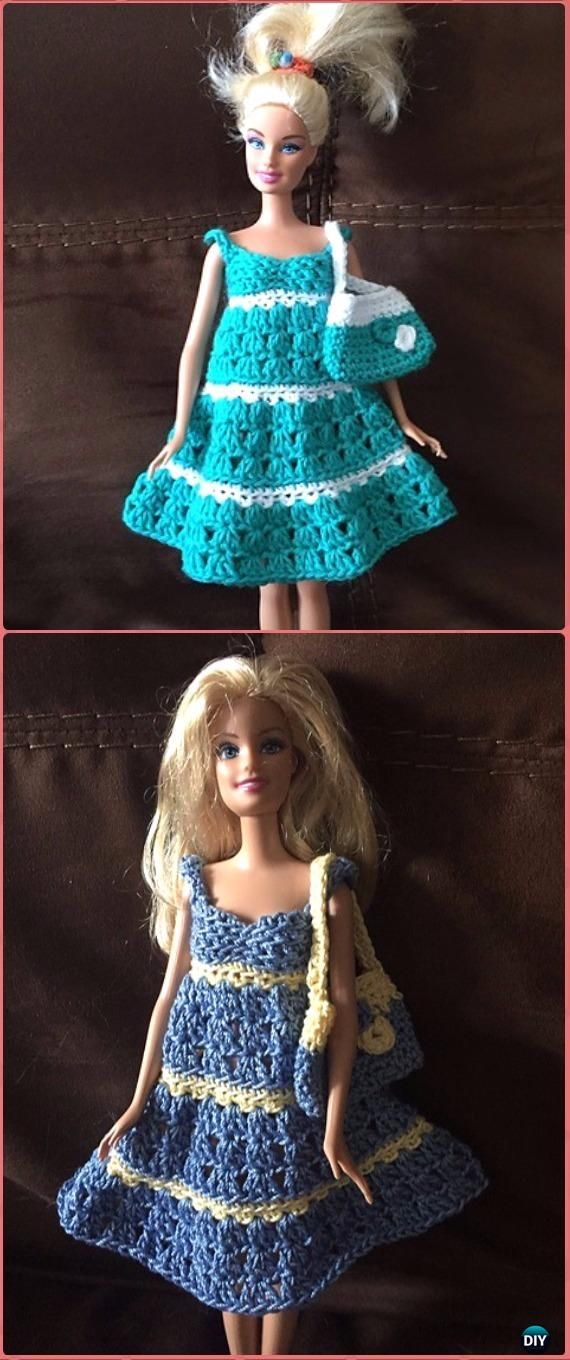 Crochet Barbie Two Colour Sundress and Bag Free Pattern - Crochet ...