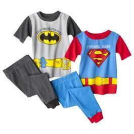 Batman and Superman Toddler Boys' 4-Piece Short-Sleeve Pajama Set