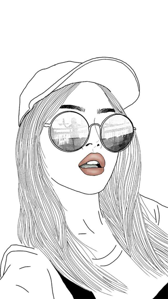 Dessin fille noir et blanc , casquette , lunettes