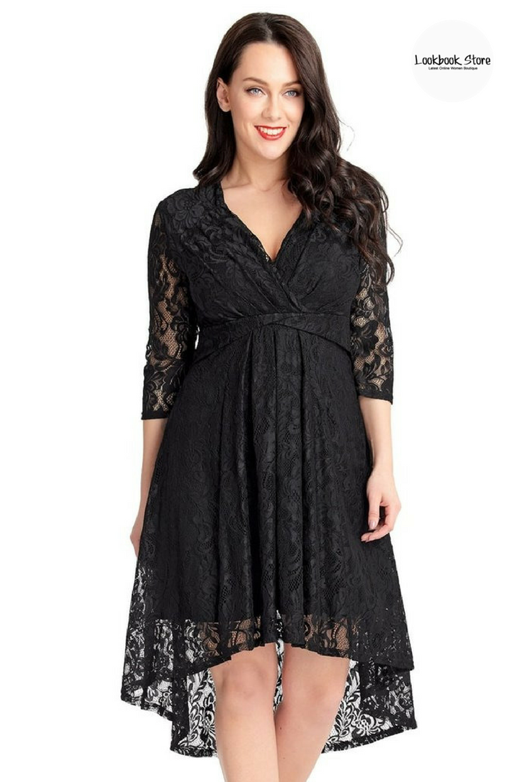 Plus size black lace overlay highlow surplice skater dress lace