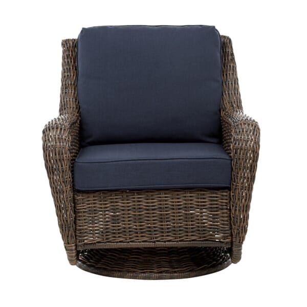 Hampton Bay Cambridge Brown Wicker Outdoor Patio Swivel Rocking Chair With Standard Midnight Navy Blue Cushions 65 17148b4 The Home Depot In 2020 Swivel Rocking Chair Blue Cushions Navy Blue Cushions