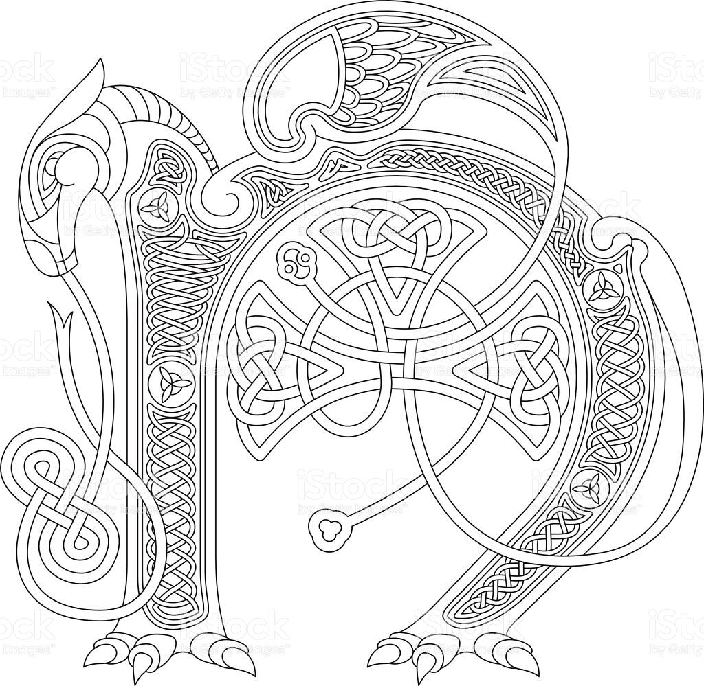Celtic Initial Drawing Of The Letter N In Black And White