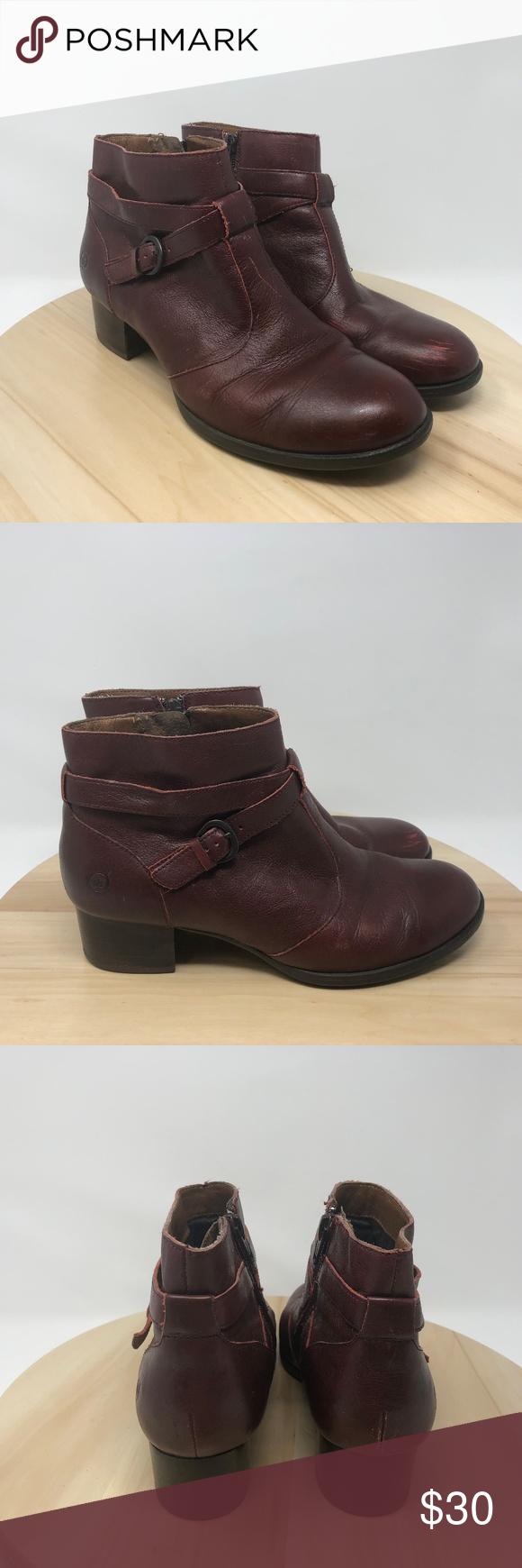 95cdec1d9540 Born Women s Side Zip Buckle Strap Ankle Boot AO18 Born Women s Shoe Size 8M  Burgundy Leather