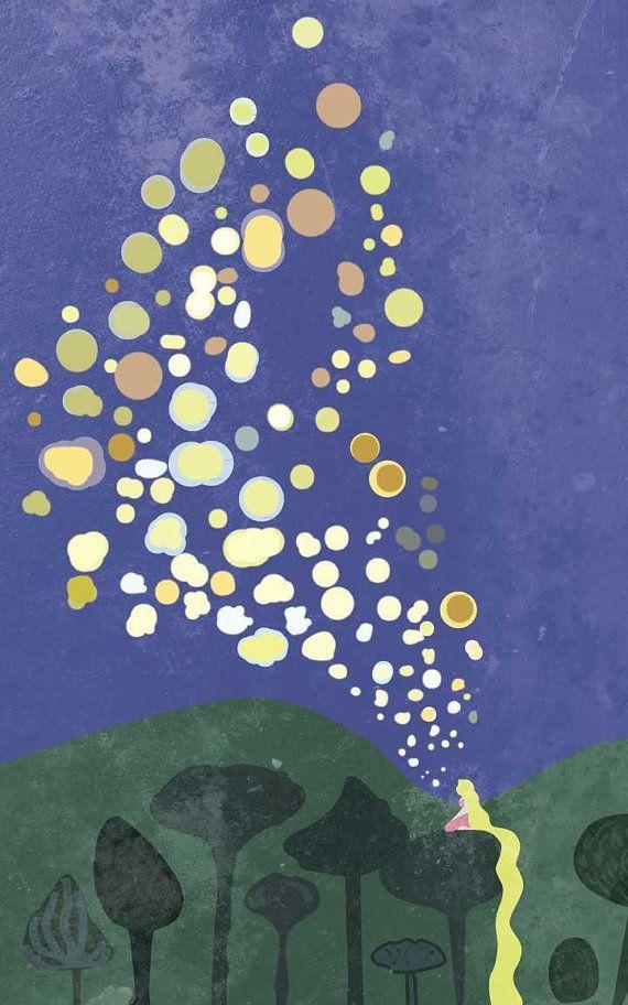Tangled Lanterns Painting Disney Pixar Movie Poster by FADEGrafix
