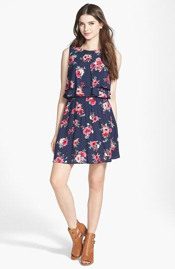 5a443b926f9e BCNU Crop Overlay Floral Print Skater Dress (Juniors) available at   Nordstrom