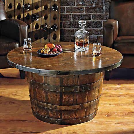 Handmade Round Vintage Oak Whiskey Barrel Table Wine Enthusiast
