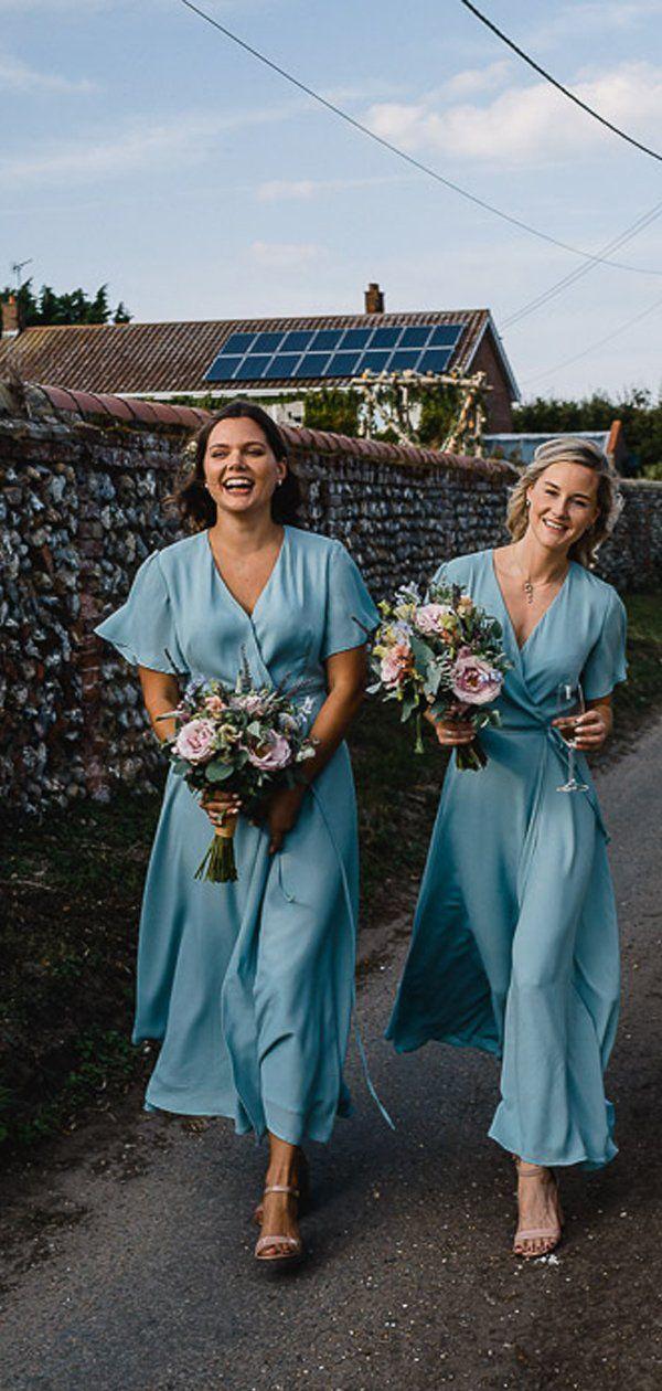 Light Blue Chiffon Half Sleeve Boho Wedding Long Bridesmaid Dresses,PB1082