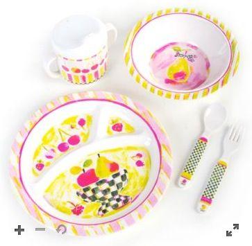 Mackenzie Childs 5 Piece Toddlers Dinnerware Set Fruit Bowl