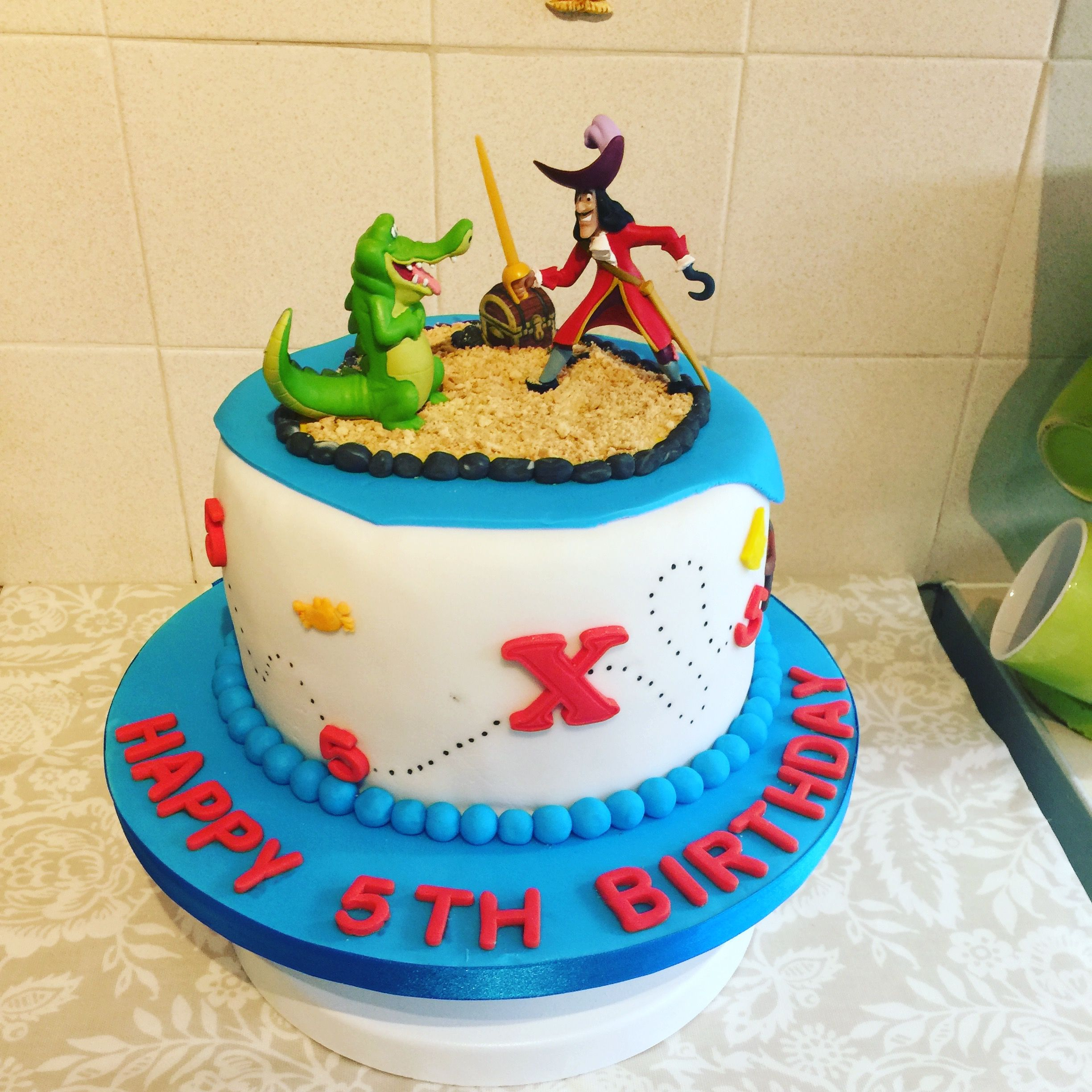 Superb Captain Hook Theme Cake X Birthday Cake Kids Pirate Birthday Personalised Birthday Cards Arneslily Jamesorg