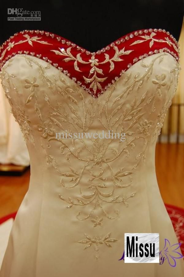 Wholesale Top selling Cheap Strapless Cathedral train Tail Red And white Bridal gown Embroidery wedding dress, Free shipping, $257.6~280.0/Piece | DHgate Mobile