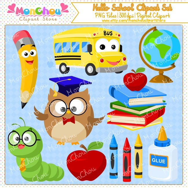 Hello School Clipart Set - School Themed Cliparts - For Commercial and Personal Use by MonChouClipartStore on Etsy https://www.etsy.com/uk/listing/198571509/hello-school-clipart-set-school-themed