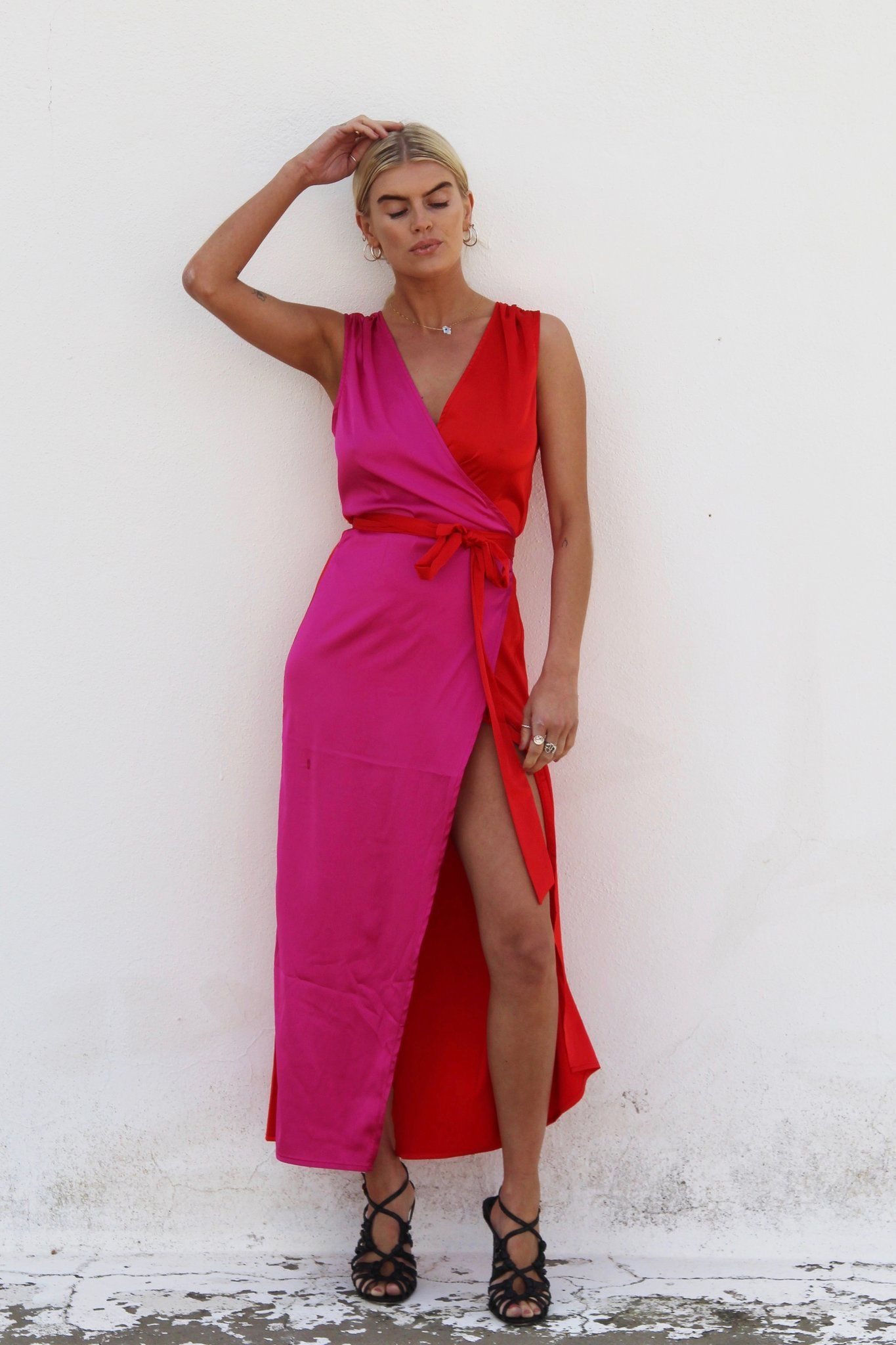 Bold And Bright For Our Strong Ladies Out There This Stunning Lightweight Wrap Dress Is Flattering And Floats With Femini Dresses Hot Pink Wedges Wrap Dress