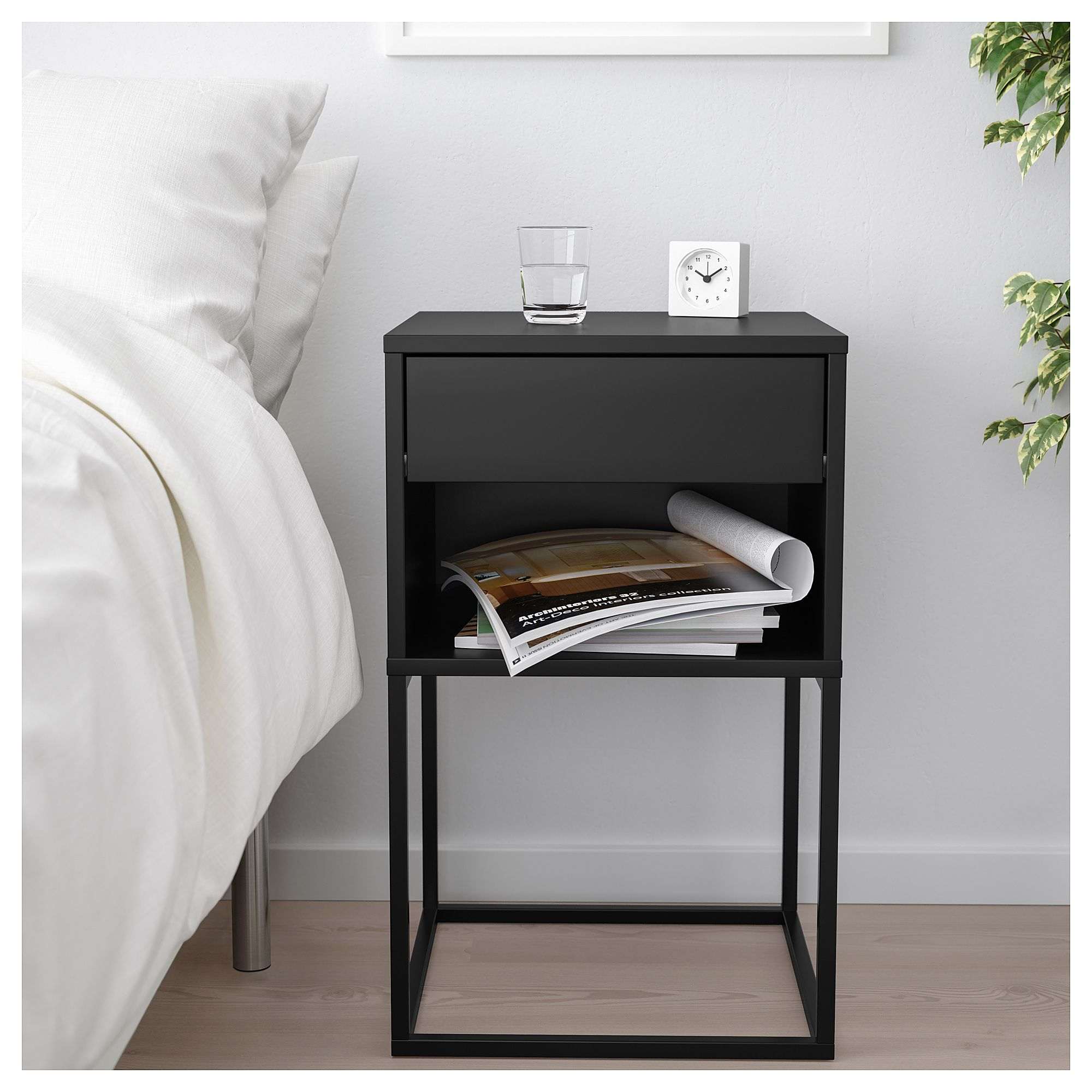VIKHAMMER Bedside table black 40x39 cm in 2020 Bedside