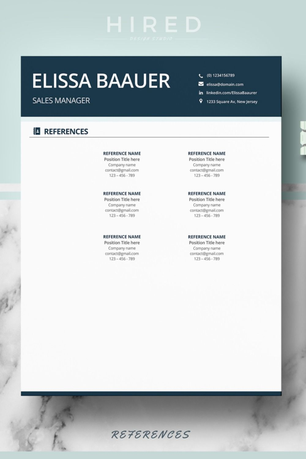 instant download resume references page   resume   cover