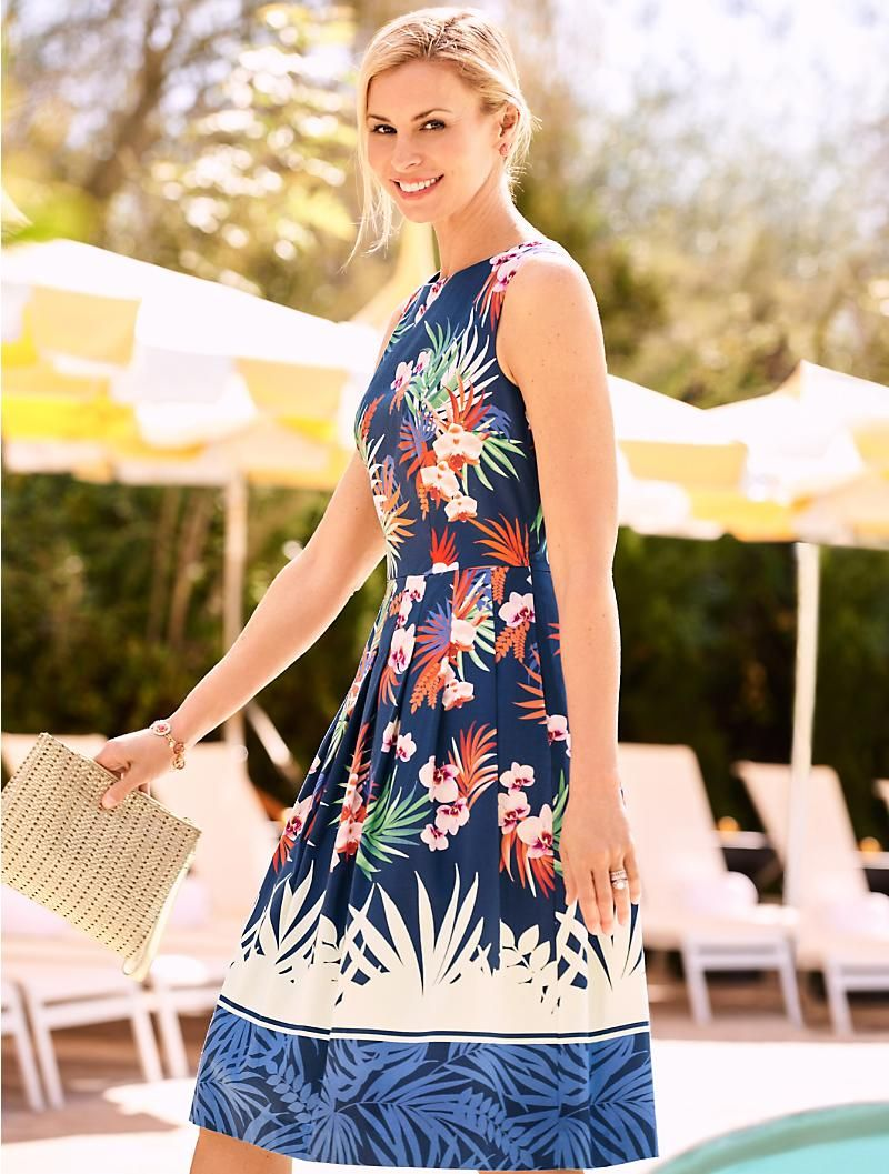 Orchid Print Pleated Dress Talbots Clothes For Women Talbots Fashion Dressy Fashion Outfits [ 1057 x 800 Pixel ]