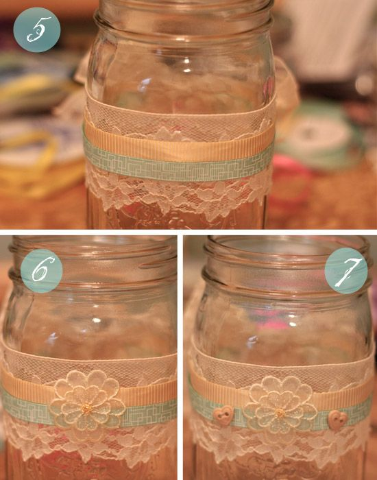 maybe just the mason jar with a thick piece of lace around and a smaller  width