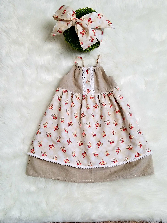 Baby Girl Dress sizes 3mth to 12 18m Girls Boho Dress Girls Linen