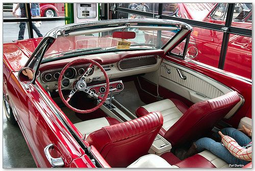 1965 mustang 289 convertible red white interior by pat durkin orange county ca via. Black Bedroom Furniture Sets. Home Design Ideas