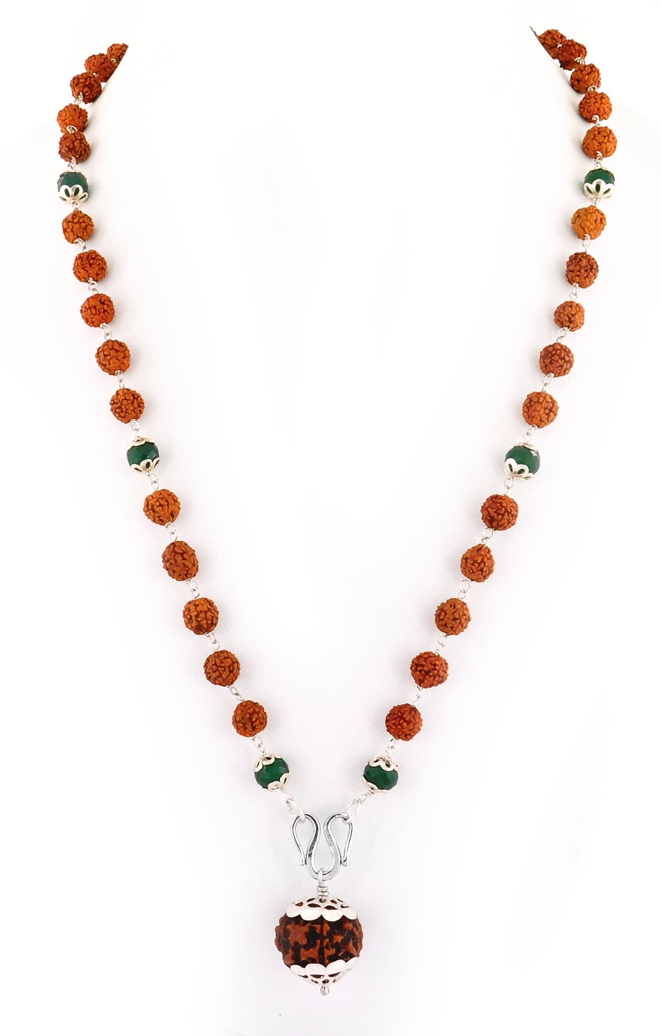 f18ab7940493f Designer 5 Mukhi Rudraksha Necklace with Emerald Gemstone | satyam ...