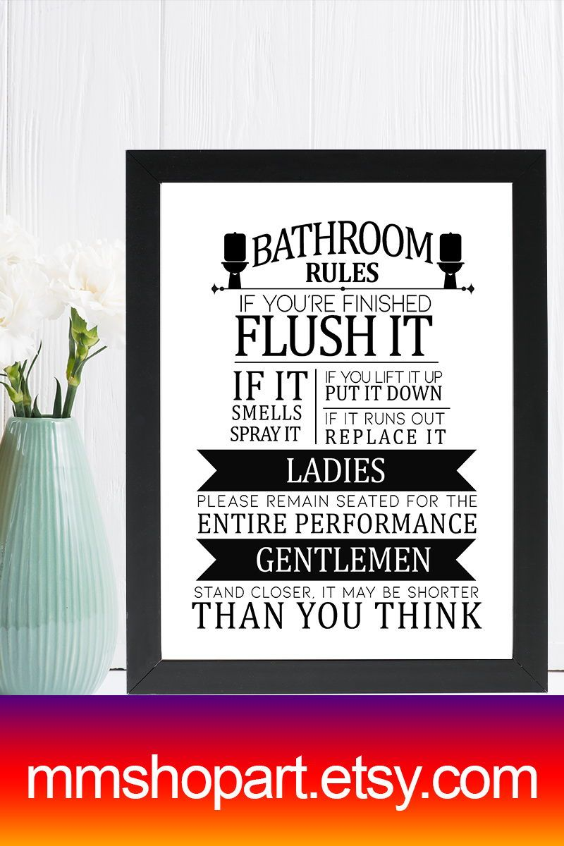 Toilet Bathroom Sign Toilet Door Sign Toilet Rules Sign