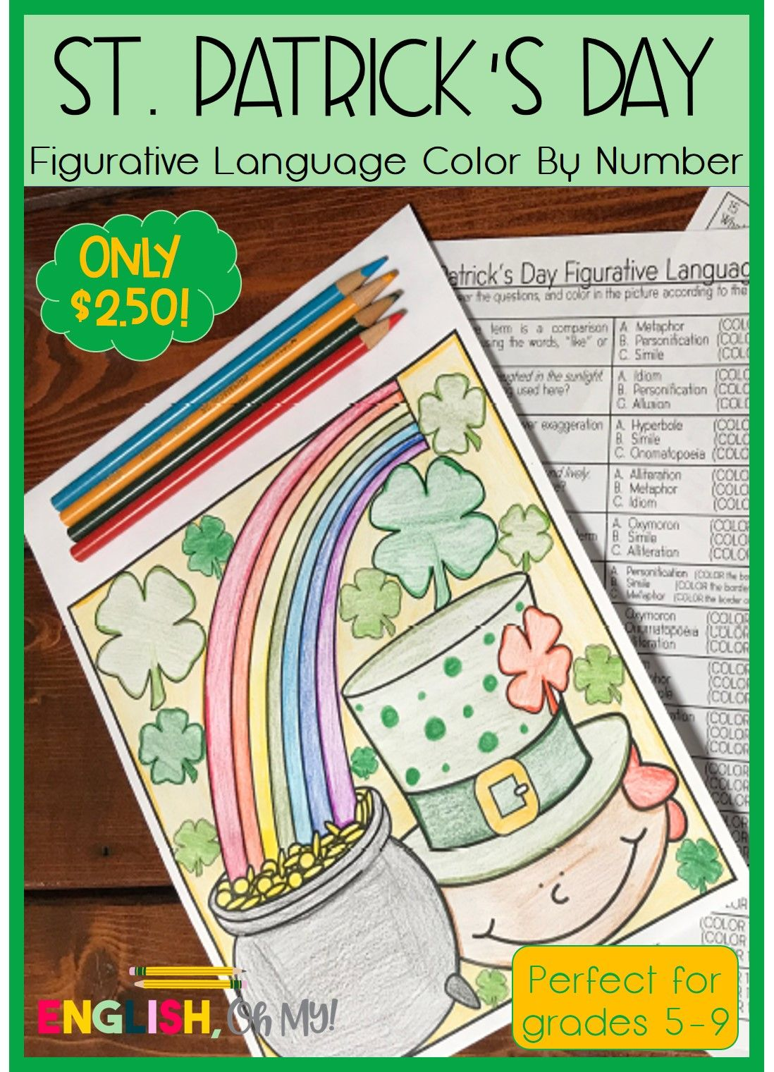Students Will Love This St Patrick S Day Color By Number