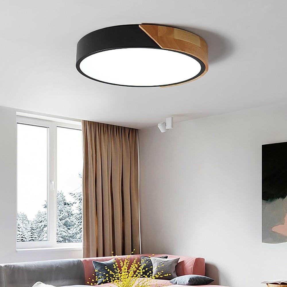 Modern Minimalist Led Drum Shaped Wood Metal Acrylic Large Flush Mount Ceili Modern Ceiling Light Fixtures Bedroom Ceiling Light Ceiling Lights Living Room