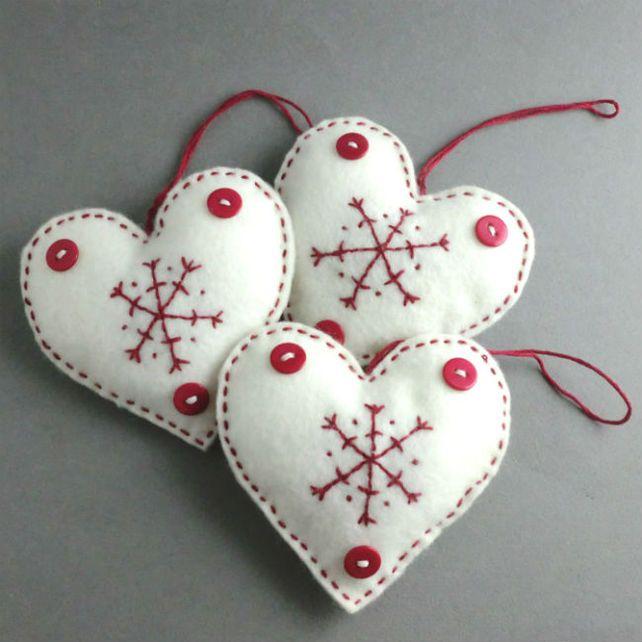Christmas Decorations Scandinavian Felt Heart Set Felt Crafts Christmas Scandinavian Christmas Ornaments Felt Christmas